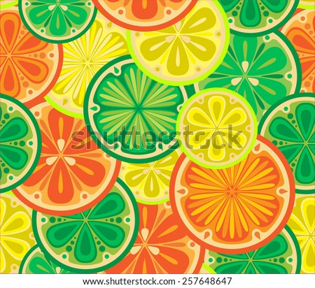 Seamless pattern of oranges, lemons and limes. Citrus slices in the vector.