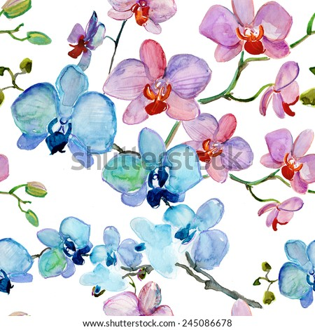 seamless pattern of  orchids. Vector flowers. - stock vector