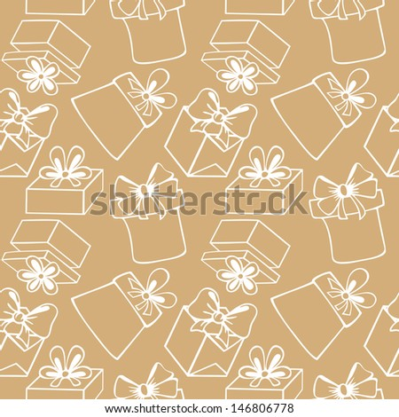 Seamless pattern of painted gift boxes with bow, ribbon, contours