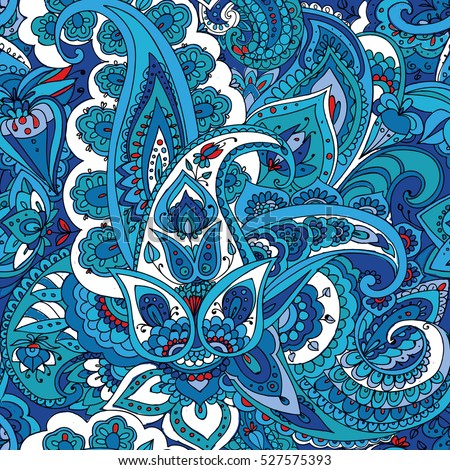 "Seamless pattern of ""Paisley"" based on traditional oriental patterns. Hand drawing. Vintage style. Blue"