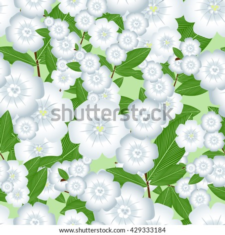 seamless pattern of pale blue flowers on light green background vector illustration.Flowering plants for wrapping paper. Gentle garden branch with flowers stock vector - stock vector