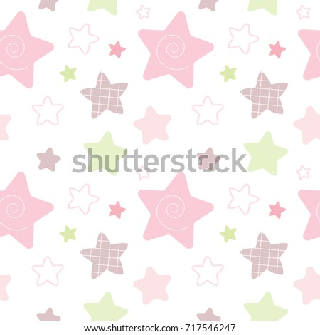 Seamless Pattern of Pastel Star Design on White Background