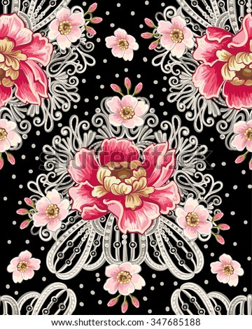 Seamless pattern of peony flowers and silver jewelry on a black background. Vintage flowers background. Decorative ornament  for fabric, textile, wallpaper, wrapping paper. - stock vector