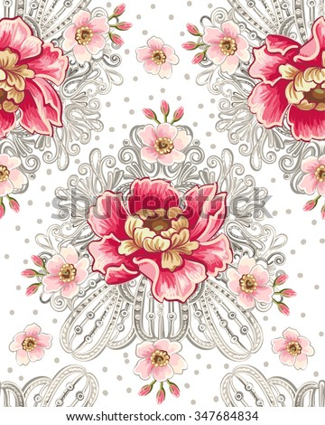 Seamless pattern of peony flowers and silver jewelry. Vintage flowers background. Decorative romantic ornament.  - stock vector