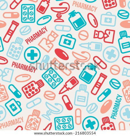 Seamless pattern of pills and capsules icons. Vector illustration. Medicine colorful vector tiling. Pharmacy symbols and objects. Pharmaceutical background. - stock vector