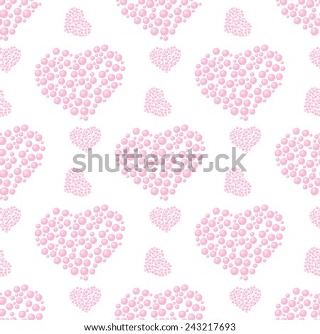 Seamless pattern of pink bubble hearts on a white background for design, gift wrapping, covers, textiles, craft, etc.