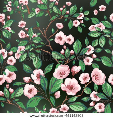 Seamless pattern of pink flowers and green leaves on a black background.