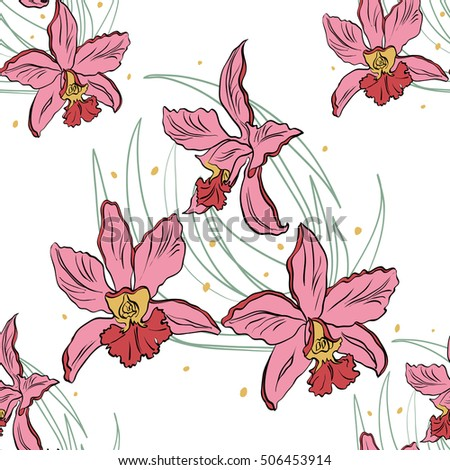 Seamless pattern of pink orchids on a white background. Orchid isolated. Vector illustration