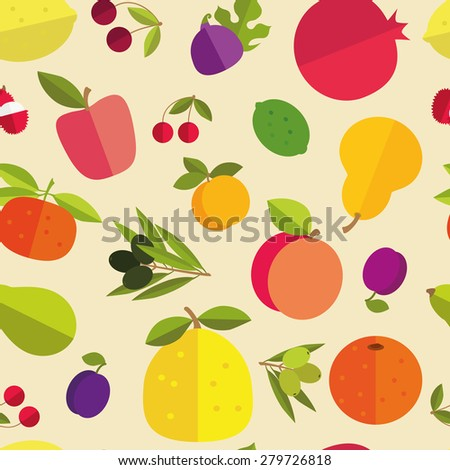 Seamless pattern of placer fruits of fruit trees. Citrus fruits, stone fruits, pome fruits and exotic fruits on a light background. Bright pleasant colors. - stock vector