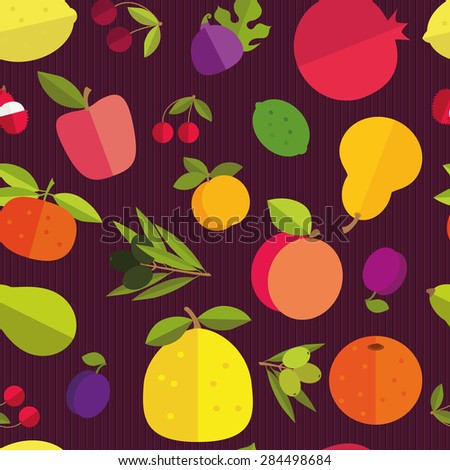Seamless pattern of placer fruits of fruit trees. Citrus fruits, stone fruits, pome fruits and exotic fruits on a dark purple background. Saturated colors. - stock vector