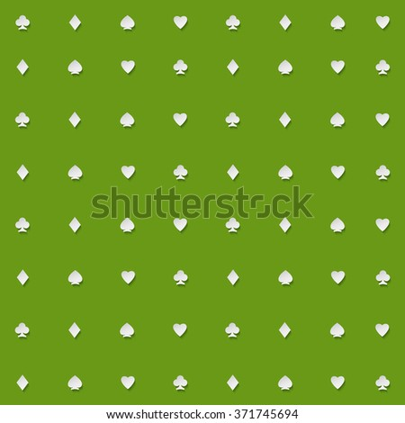 seamless pattern of playing card suits on green backdrop. vector background design. hearts, spades, diamonds and clubs symbol. casino and poker rooms wallpaper - stock vector