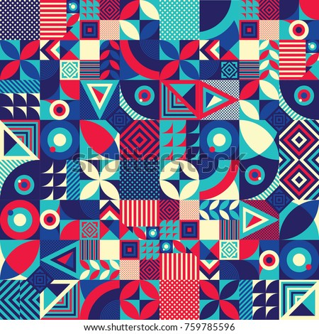 Seamless Pattern Of Pop And Colorful Abstract Geometric Shape Tile Decor Wallpaper