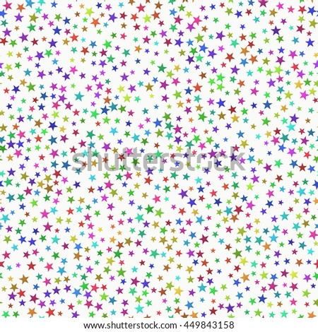 Seamless Pattern of Prismatic Stars with Various size and Shades  scattered Randomly.
