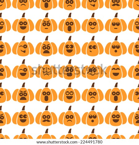 Seamless pattern of pumpkins with different emotions for textiles, interior design, for book design, website background - stock vector