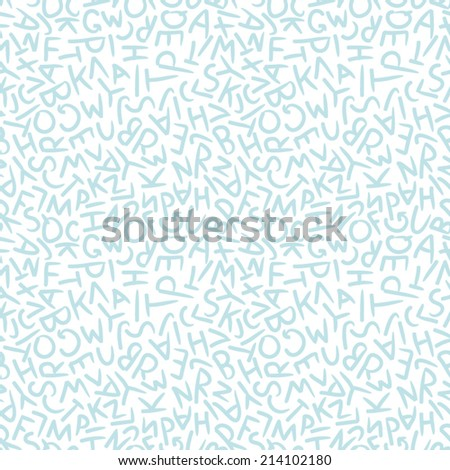 Seamless pattern of randomly placed letters of the alphabet drawn by hand casually in white and blue. - stock vector