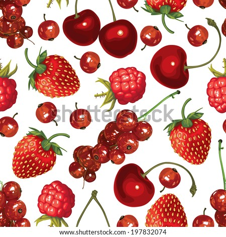 Seamless pattern of realistic image of delicious ripe red berries - stock vector