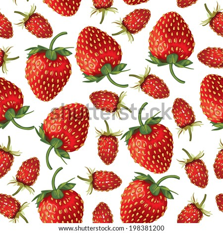 Seamless pattern of  realistic image of ripe wild strawberries and strawberries - stock vector