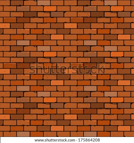 Seamless pattern of red brick with cracks and irregularities. Vector. blank under different design - stock vector