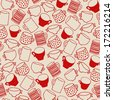 Seamless pattern of red cups - stock vector