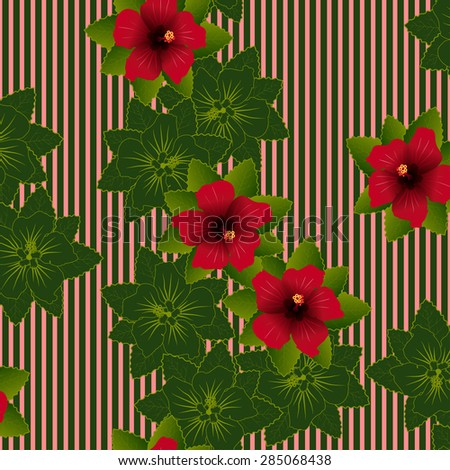 Seamless pattern of Red flower of hibiscus and green leave background - stock vector