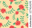 Seamless pattern of red flower vector illustration background - stock vector