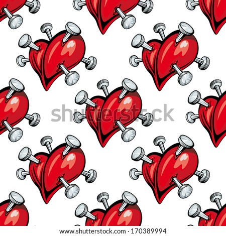 Seamless pattern of red hearts studded with protruding silver nails. Rasterized version also available in gallery - stock vector
