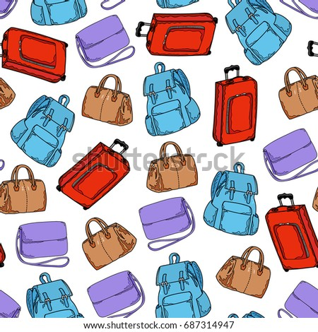 Seamless pattern of red suitcase, blue backpack, brown bag and lilac woman bag on a white background. Fashion wallpaper. Hand drawing. Vector illustration in cartoon style.