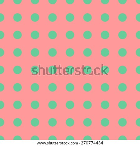 Seamless pattern of repeating the great circle on a light pale coral red background green circles - stock vector