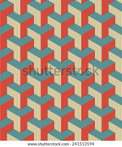 seamless pattern of retro colored blocks. each color in separate layer. - stock vector