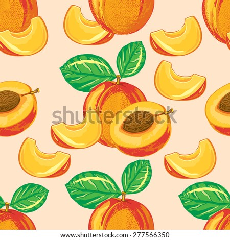 seamless pattern of ripe peach and peach slices - stock vector