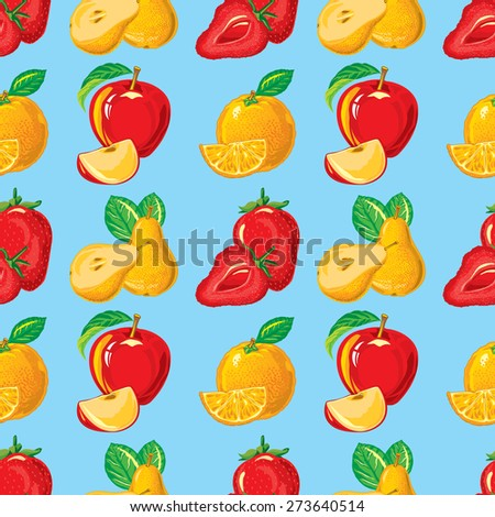 seamless pattern of ripe strawberry, apple, orange, pear and slices of them - stock vector