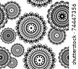 seamless pattern of round black and white ornaments - stock vector