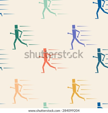 Seamless pattern of runners characters of various colors, running all in the same direction. EPS 10 vector illustration, no transparency