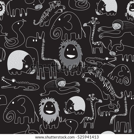 Seamless pattern of safari animals in white line on black use as background, wallpaper, card and wrap paper