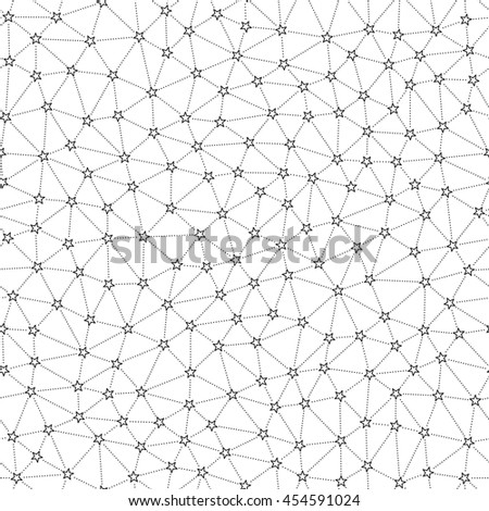 Seamless Pattern of Scattering Hollow Stars Connected by Dot Lines.