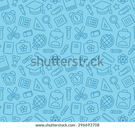 Seamless pattern of school and education related symbols: stationery, learning and science metaphors and various school supplies. - stock vector