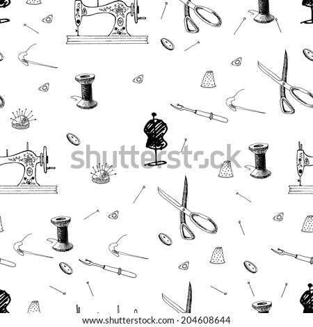 Seamless pattern of sewing accessories. Swing machine. Hand drawn sketch. Vector illustration. - stock vector