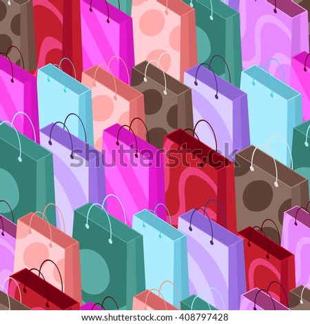 Seamless pattern of shopping bags. Seamless background of colorful shopping bags in isometric style. Vector illustration.