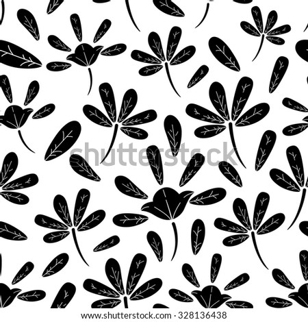 Seamless Pattern Of Silhouette Abstract Flower And Leaf With White Background - stock vector