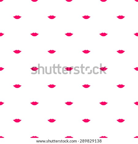 Seamless pattern of silhouettes of kissing lips bright pink on a white background - stock vector