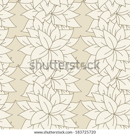 Seamless Pattern of Simple Vertical Floral Outline - stock vector