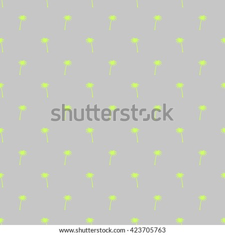 Seamless pattern of small green palm trees on a gray background in the style of polka dot.
