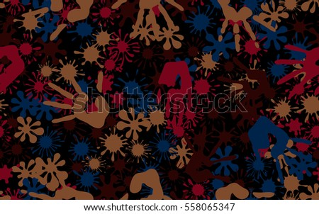 Seamless pattern of smudges and handprints. Fashion camouflage