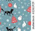 Seamless pattern of snowflakes cats and birds - stock vector