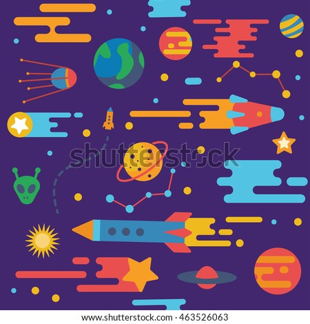 Seamless pattern of spaceship with star