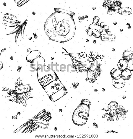 Seamless pattern of spices and herbs. Vector Illustration. - stock vector