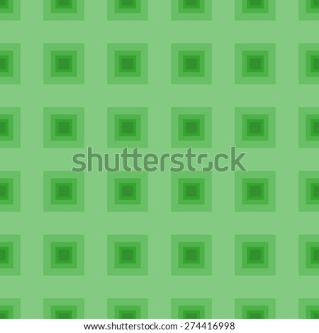Seamless pattern of squares in a square goes into the distance to infinity illusion of fantasy in the grass green colors - stock vector