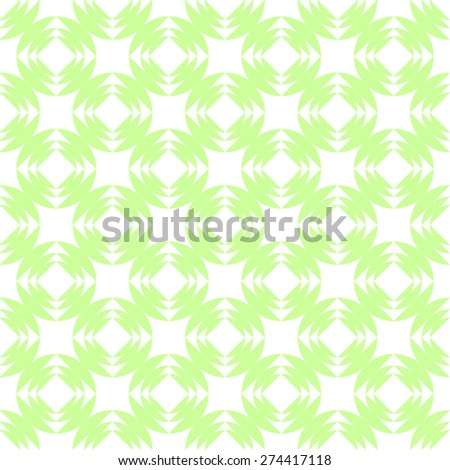 Seamless pattern of squares in circles goes into the distance to infinity illusion of a fantasy in soft pale green and white - stock vector