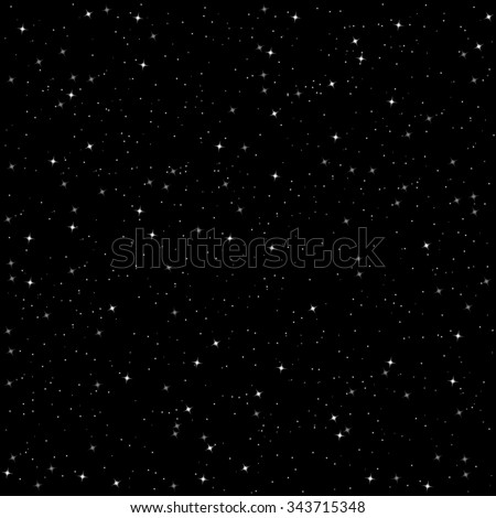 Seamless pattern of star sky on black background, vector - stock vector