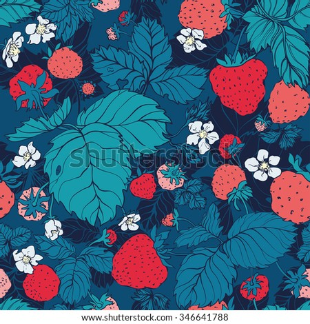 Seamless pattern of strawberries
